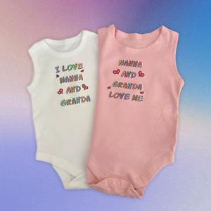 Baby Vests Set of 2. My Nanna and Granda Love Me & I Love My Nanna and Granda.