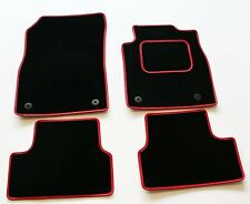 FIAT 500L 2013 ONWARDS TAILORED BLACK CAR MATS WITH RED LEATHER TRIM