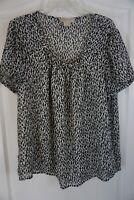 Michael Michael Kors Leopard Print Short Sleeve Embellished Top Size 1X