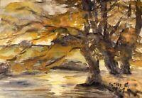 Eva Marie Hennemann Lange 1921-2016 Herbsttag am See Bäume Buntes Laub Schwerin