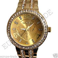 Oro Ginebra Cronógrafo diseñador estilo señoras para mujer Cristales Bling Reloj
