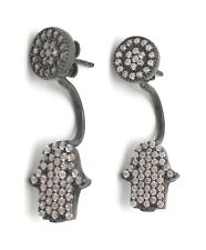 Hamsa Fatima hand earrings rhodium plated sterling silver & cubic zirconia DL
