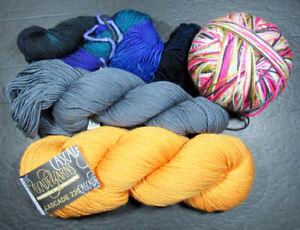 4xKnitting/Crochet YARN CASCADE220+SHIBUI/INTERLACEMENT/BLUE MOON sock-SQ27