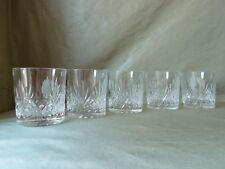 5  Edinburgh Crystal Etched Whisky Tumblers, Signed, Golfer in Landscape h 8,5cm