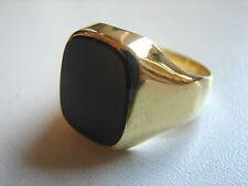 klassischer Herrenring, Onyx, schwarz,333 Gelbgold, 9,6 Gramm, Größe 66