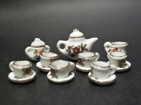 10PC WHITE W// GOLD TRIM DOLLHOUSE PORCELAIN TEA SET A1221