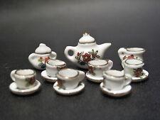 Dollhouse Miniature Porcelain Tea Set - 15pcs Red Flowers w/Gold Lining 1.5cm