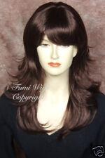 Layered Flip Wavy Wig in Dark Cherry Brown 100% Japanese Fibre Brilliant Quality