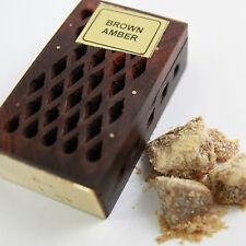 Amber Brown Stein Kristalle im Holz Kästchen  India Parfüm Amberstein Indien