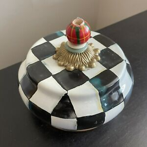 Mackenzie Childs Courtly Check Enamel Black White Butter Dish Plate Cover NR