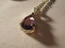 PEAR SHAPE BRAZILIAN AMETHYST STAINLESS STEEL CHAIN - LOBSTER CLAW CLASP