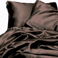 Satin Sheet Set QUEEN Size Luxury Chocolate Brown Silk Feel 4pc Bed Linen NEW
