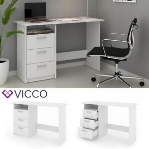 VICCO Scrivania MEIKO Tavolo da lavoro Tavolo per ufficio Armadio PC Bianco