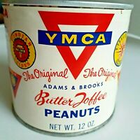 Vintage YMCA PEANUTS TIN, Great Graphics! Eight YMCA LOGOS, by Adams & Brooks
