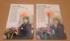 PRIERE A SAINT NICOLAS ensemble de deux cartes postales anciennes