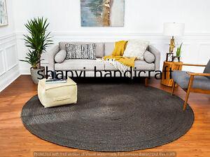 Braided Round Reversible 120x120 CM Natural Black Color Jute Rug Floor Mat Decor