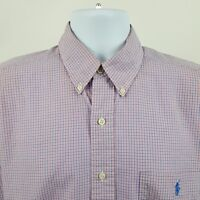 Ralph Lauren Blake Pink Blue Check Men's S/S Casual Button Shirt Sz Medium M