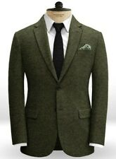 Men Olive Green Tweed Suit Blazer Vintage Party Prom Dinner Wedding Suit Custom