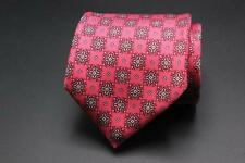 DUNHILL 7 Fold Silk Tie. Hot Pink Floral. Made in Italy.