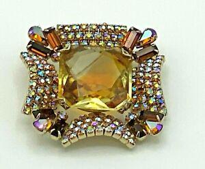 Vintage Juliana Style Brooch Citrine Colored Glass AURORA BOREALIS Rhinestone403