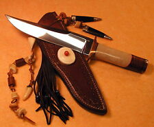 BOB CUMMING CUSTOM HAND MADE FIXED BLADE BOWIE WITH CUSTOM LEATHER SCABBARD