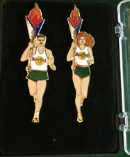 Hard Rock Cafe SYDNEY 2000 Olympic Athlete Runners 2 PIN Boxed Set 150 HRC #9528