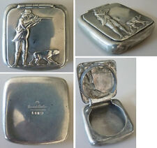 Boite tabatière CORNISH PEWTER chasseur chien chasse hunting scene