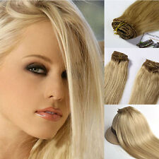 Clip in on Human Hair Extensions 100% Human Hair #24 Natural Blonde 20INCH 70g