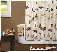 Saturday Knight Camping Critters Fabric Shower Curtain Multi Q1329500200001 New