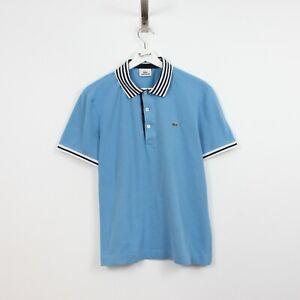 AC51 Vtg Lacoste Polo Mens Blue Short Sleeve Cotton Shirt Size 4 M