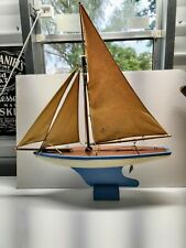 Rare Vintage Toy Model Real Wood Sailboat Pond Boat Sailing Yacht Wong's