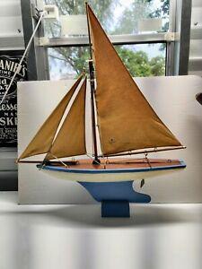 Rare Vintage Toy Model Real Wood Sailboat Pond Boat Sailing Yacht Wong's