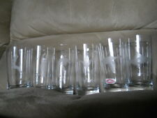6 SUSQUEHANNA Hand Cut Glasses Mix of Wildlife Etched Hi-Ball Glasses 15 ounce