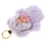 Faux Rabbit Fur Ball Sleeping Baby Keyring Bag Pendant Key Chain Doll -Gray