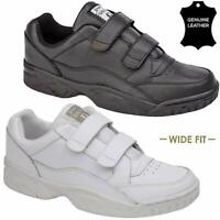 MENS LEATHER WIDE FITTING GYM RUNNING WALKING CASUAL SPORTS TRAINER DRIVING SHOE