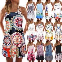 Vintage Boho Women Summer Sleeveless Beach Printed Short Mini Dress Vest Ladies