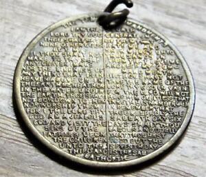 Ten Commandments Antique Vintage Brass Pendant Medal Token