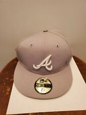Atlanta Braves New Era 59 Fifty Grey Fitted Hat  7 3/8
