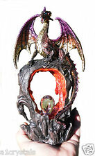 Mystical Dragon on Lava Cave with 7 Colours light up Gem 26cm (type B) Red cave