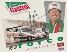 1993 John Force signed Castrol GTX Oldsmobile Funny Car NHRA postcard