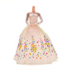 Hot Sale 1 Pc Handmake Beige Wedding Gown Dress For Barbies Cinderella Dolls FG