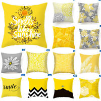 Yellow PILLOW COVER Home Decor Abstract Gray White Soft Cushion Case 18x18 @wei