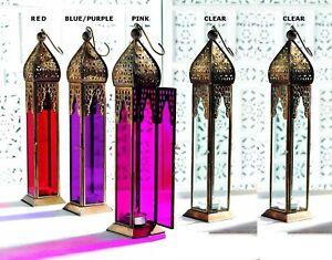 Large Plain Moroccan Tall Tonal Glass Lanterns Tealight Holder Home Decor 35CM