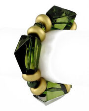 G6 Acrylic Beads Green BRACELET Discs Matte Gold Tone Metallic