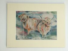 """Highland cattle wall art - 16"""" x 12"""" with ivory bevelled mount also backboard"""