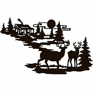 Deer and Woods Cabin Metal Wall Art Forest Cabin Hanging Wall Decor Iron Deer...