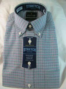 NWT STAFFORD WRINKLE FREE STRETCH OXFORD DRESS SHIRT Reg. Fit Plum Green Check