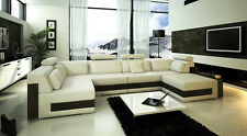 Contemporary Large Ivory L U Shaped Leather Sectional Sofa with Black Accent NEW