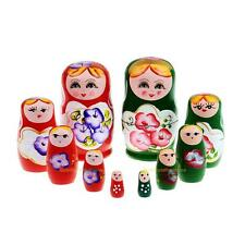 #QZO 5pcs Purple Dolls Set Wooden Russian Nesting Babushka Matryoshka Hand Paint