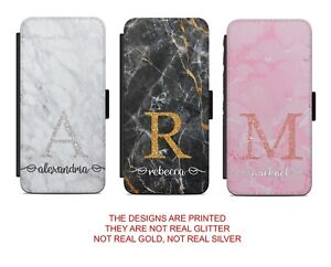 Initials Personalised Marble Background Flip Wallet Phone Case